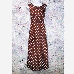 🆕 Crew Neck Polka Dots Sleeveless Maxi Dress